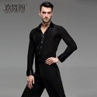2018 new male adult Latin dance SHIRT MENS shirts Latin training clothes modern dance Rumba cha cha Samba Jive ballroom shirt