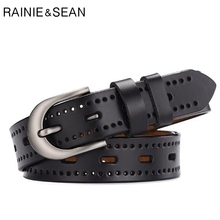 купить RAINIE SEAN Black Genuine Leather Women Belt Hollow Out Pin Buckle Female Belt Korean Casual Real Leather Ladies Belts For Jeans по цене 634.38 рублей