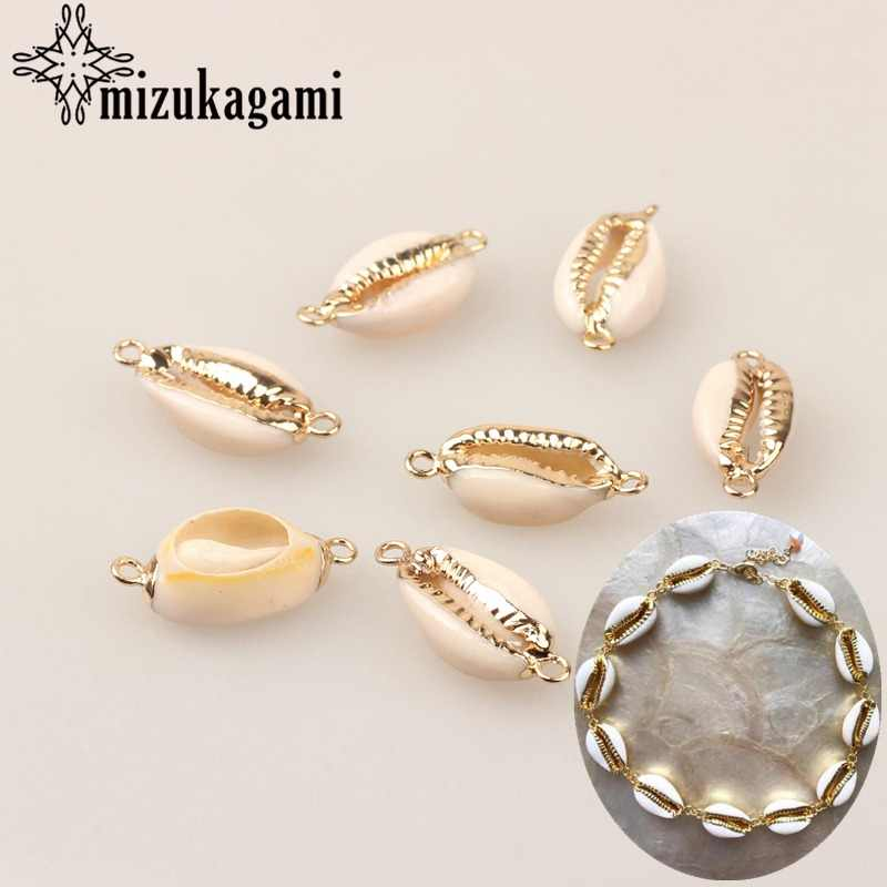 Natural White Cowrie Shells Connect Charms Beads 10pcs/lot For DIY Fashion Bohemia Jewelry Bracelet Making Accessories