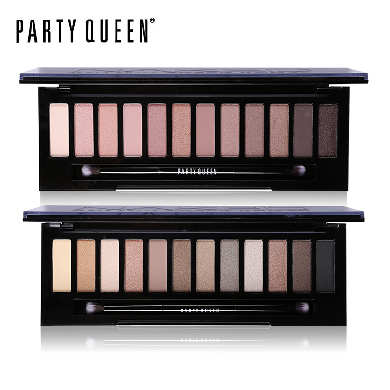 Party Queen 12 Colors Shimmer Matte Nude Eye Shadow Palette Makeup Neutral Glitter Smoky Eyeshadow With Mirror+Dual Ended Brush do less get more