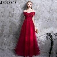 JaneVini Vestidos Vintage Burgundy Godmother Long Gowns Off Shoulder Beaded Lace Evening Party Mother Of The Bride Dresses 2018