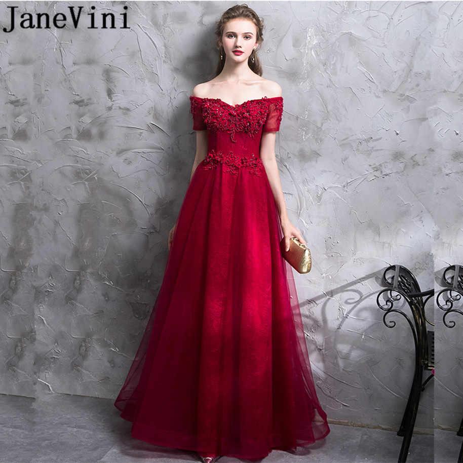 JaneVini Vestidos w stylu Vintage bordowy matka chrzestna długie suknie Off ramię zroszony koronki wieczór sukienki dla matki panny młodej 2018