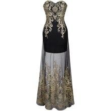 Angel-мода noche see through длинное бретелек vestidos вечернее vintage de вышивка