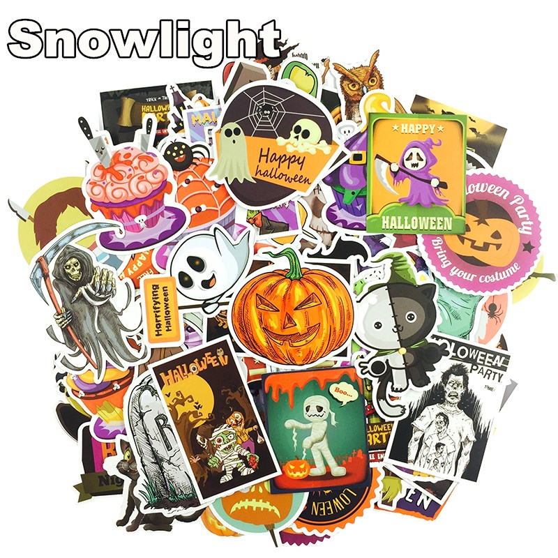 Honest 100 Pcs Halloween Cute Pumpkin Toy Decoration Stickers All Saints Day Haunted House Laptop Skateboard Toy Sticker For Kids Long Performance Life