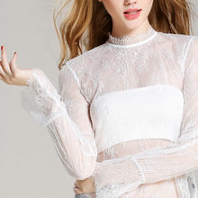 Women Lace Flare Sleeve Sexy Shirt 2018 Spring Summer New Hot Fashion Female Casual Solid Color Hollow Out Shirts Tops Blouses(China)