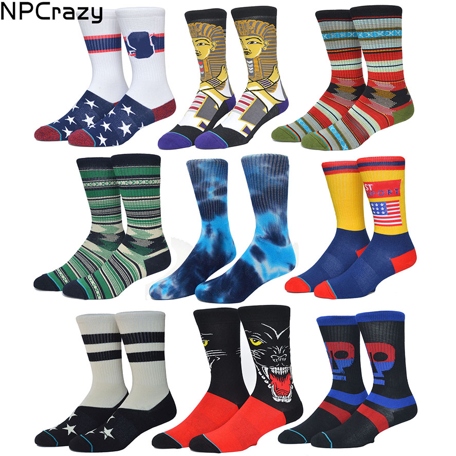 New Ethnic Strip Basketball Socks Combed Cotton Towel Bottom Knee Socks Skateboard Outdoor Sport Hiking Skiing Sock ...