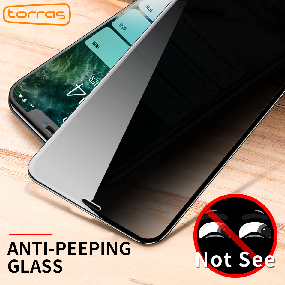 TORRAS Privacy Protection Screen Protector For iPhone X 10 Anti Peeping Tempered Glass 6D Film For iPhoneX Anti Peeping Glass