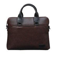 Vintage Men Briefcase Business Office Handbag Crazy horse Leather Shoulder Messe