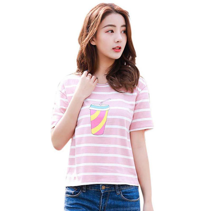 Harajuku 2018 Summer Fashion Hit Color Striped Ice Cream Female T-Shirt Loose O-Neck Cute Casual T shirt Girls Streetwear Women