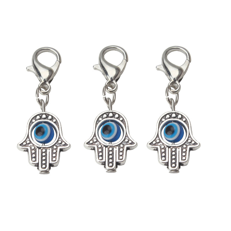 10pcs lot 35 13mm Evil Eye Beads Hamsa Hand Charms Pendent Lobster Clasp Pendant Key Chain