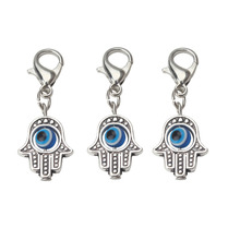10pcs/lot 35*13mm Evil Eye Beads Hamsa Hand Charms Pendent Lobster Clasp Pendant Key Chain Jewelry Accessories