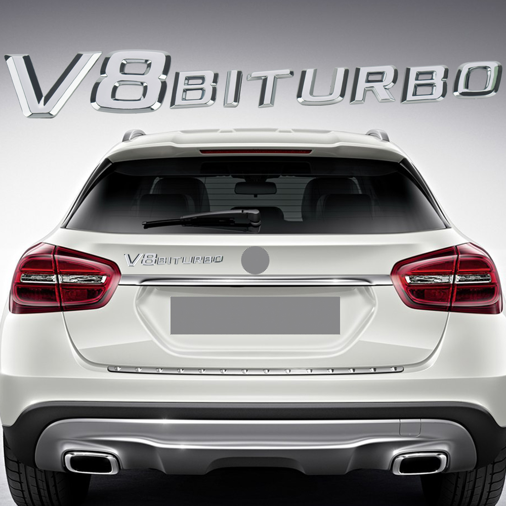3D ABS Car Sticker V8 BITURBO Logo Emblem Badge Rear Side Car styling Sticker for Benz AMG BMW VW Mazda Chevrolet Skoda Stickers car styling for mercedes benz g series w460 w461 w463 g230 g300 g350 chrome number letters rear trunk emblem badge sticker