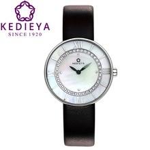 Kedieya часы женщины кожаный двухслойной набирать номер 36 цирконами алмаз мозаика водонепроницаемый дамы кварцевые часы подарки часы женские наручные