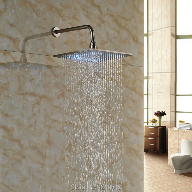 ФОТО Newly Bathroom 12 Inch Shower Head w/ Shower Arm Nickle Brushed LED Lights Top Shower Sprayer Wall Mounted