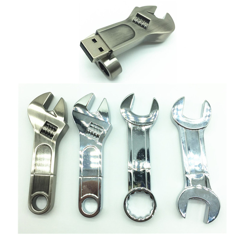 Retail Metal adjustable wrench USB 2.0 Flash Drives thumb memory stick 4GB 8GB 16GB 32GB 64GB Flash Memory Pen Drive pendrive
