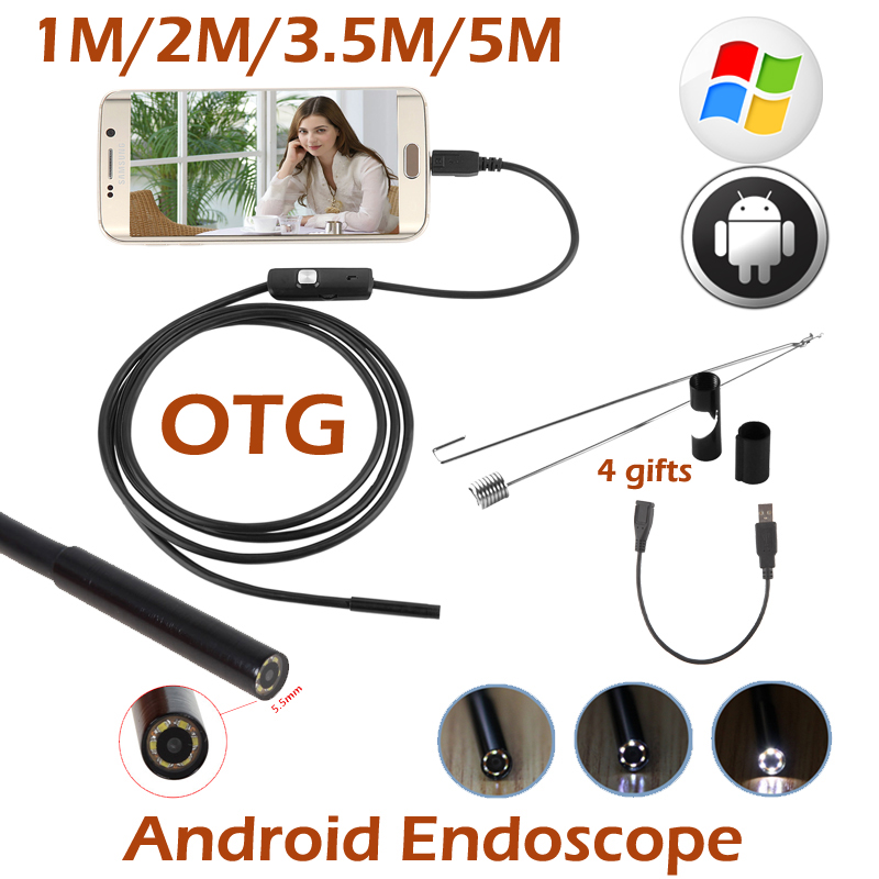 5.5mm Lens Android OTG USB Endoscope Camera 5M 3.5M 2M 1M Smart Android Phone USB Borescope Inspection Snake Tube Camera 6LED 2018 newest 4 9mm lens medical endoscope camera for otg android phone pc usb borescope inspection otoscope camera for ear nose