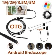 5.5mm Lente Android OTG del USB Del Endoscopio de La Cámara 5 M 3.5 M 2 M 1 M Teléfono Inteligente Android USB Animascopio de la Serpiente Inspección de Tubos Cámara 6LED