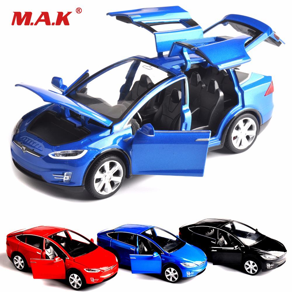 Sell 1:32 Scale Car Model X90 Tesla Blue alloy diecast Model Car W sound&light Pull Back model Car Toy Cars Kids Toys Collection