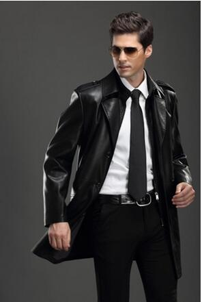 M-4XL HOT ! spring autumn New Men's Business leisure Leather trench plus size slim medium-long Lapel clothing leather outerwear