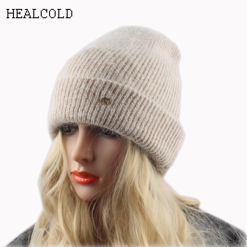 Vinteruld Warm Hats For Women Kanin Fur Strikket Beanies Ladies Angola Casual Cap Skullies