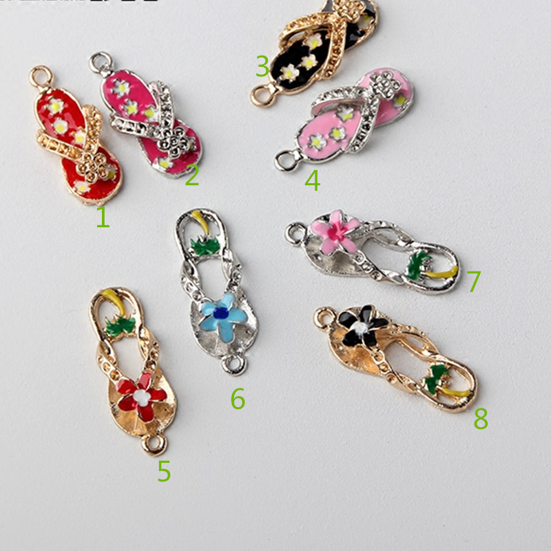 MRHUANG 10pcs Can mix Beautiful Flower lace flip flop Jewelry Charms Drop Oil Enamel  Charms Connector  Bracelet Keyring Charms