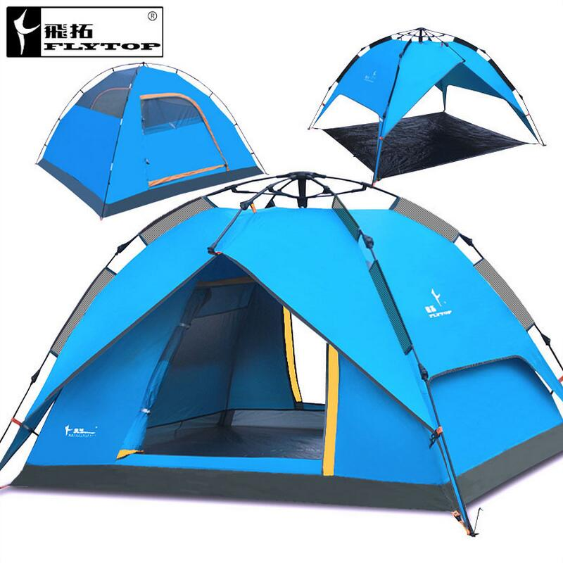 FLYTOP Outdoor Camping Tent Family 4 Person Tourist Fishing Beach Tents 3 Perosn Garden Gazebo Automatic Tent recreation trackman 5 8 person outdoor camping tent one room one hall family tent gazebo awnin beach tent sun shelter family tent