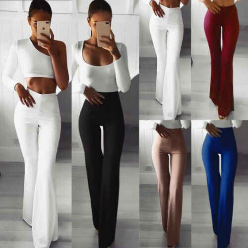 Elegante Hohe Taille Breite Bein Frauen Dünne Ausgestelltes Damen Palazzo Stretch Hose Hosen Neue Mode