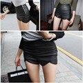 Calções mulheres 2016 Sólidos sexy Imitação de couro fino preto curto femme jag Pequeno plus size Shorts de verão chegam novas