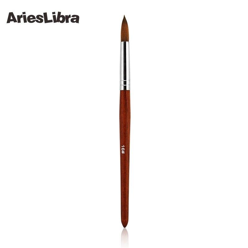 AriesLibra 5 pièces/ensemble 16 # 100% Konlinsky Sable acrylique Nail Art Builder brosse spirale Gel stylo conseils outil Set rouge bois poignée