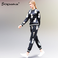 2018 Spring Autumn Women Set Suit Black White Striped Dog Floral Pattern Print Fashion Designer Long