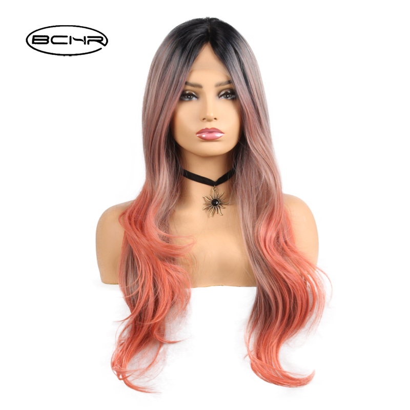 BCHR Heat Resistant Synthetic Lace Frontal Long Ombre Black Orange Color Wig 26For ALL Women