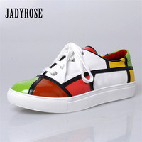 Jady Rose Patchwork Women Casual Flat Shoes Lace Up Flats Canvas Shoes Tenis Feminino Comfortable Platform