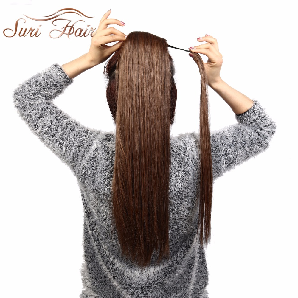 HTB1h7bafXuWBuNjSszbq6AS7FXa4 - Suri Hair 24'' Long Silky Straight Ponytails Clip In Synthetic Pony Tail Heat Resistant Fake Hair Extension wrap round hairpiece