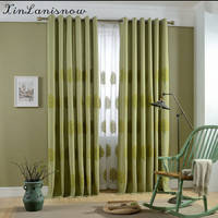 American Pastoral Village Green Leaves Embroidery Embroidery Curtain Curtain Ground Wire Netting The Balcony