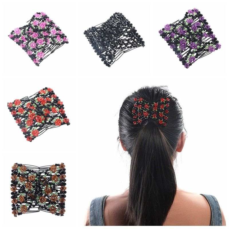 Women Lady Girls Hair Comb Double Elasticity Clip Stretchy Magic Beads Hair Combs Clips Fashion