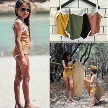 Купальный костюм для новорожденных девочек; трикотажный купальный костюм на подтяжках; летняя пляжная одежда для младенцев; цельный купальный костюм