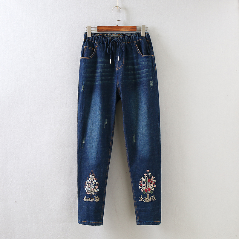 M L XL 2017 new spring casual denim pants ankle length high waist pants Haren art embroidery loose size female trousers