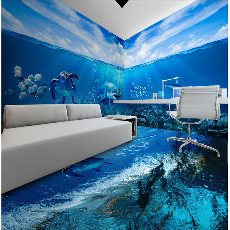 Beibehang wallpaper customized frescoes sea turtles shark for 3d aquarium wallpaper for bedroom