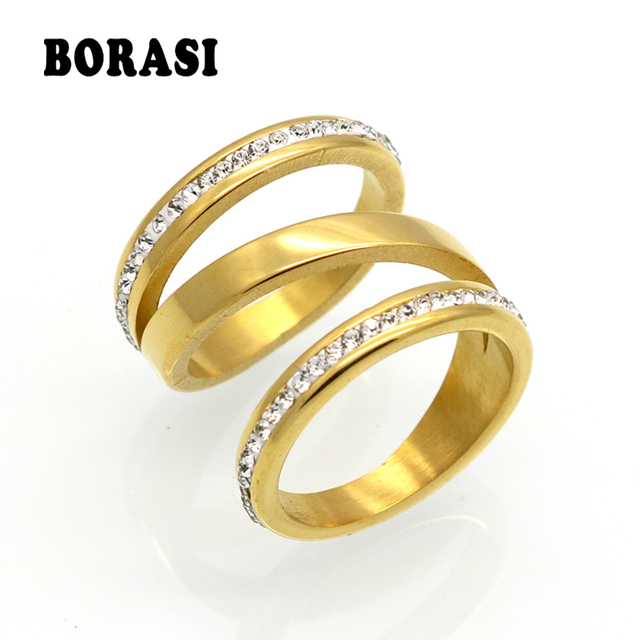 BORASI Gold Color Engagement Rings For Women Stainless Steel Wedding Jewelry Crystal Ring Stainless Steel Jewelry