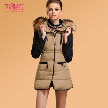 Hot Sale 2016 Women Fur Hooded Slim Long Wadded Parkas Fashion Winter Coat Women Thicken  Down Outerwear Jacket H6947 2016 winter jacket women down coat fur hooded vest down coats vest pant underwear women s suit thicken set outerwear trousers