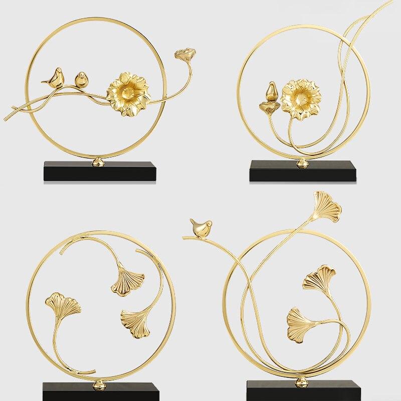 Lovebirds ornement cadeaux de mariage créatif style nordique Lotus branche léopard feuille Fine cuivre avec base en cristal noir décor à la maison
