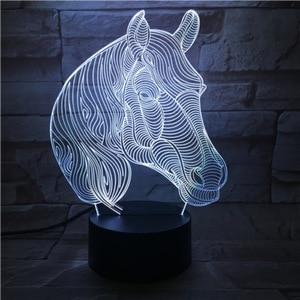 Image 4 - Lámpara LED 3D con cabeza de caballo, Animal creativo, regalo, lámpara de Noche de Ambiente, Luminaria Multicolor, mesa de escritorio, Chico, juguete, Gadget, decoración para el hogar