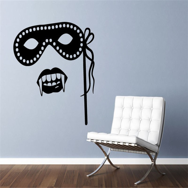 New Designs Vinyl Home Decor Wall Stickers Living Room Masquerade Mask and Vampire Fangs Wall Decal Waterproof Wallpaper