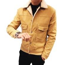 2019 Men Fashion Denim Jackets Autumn and Winter Black Jacket Thick Wool Coat Male Plus Velvet Size L-2XL 4XL