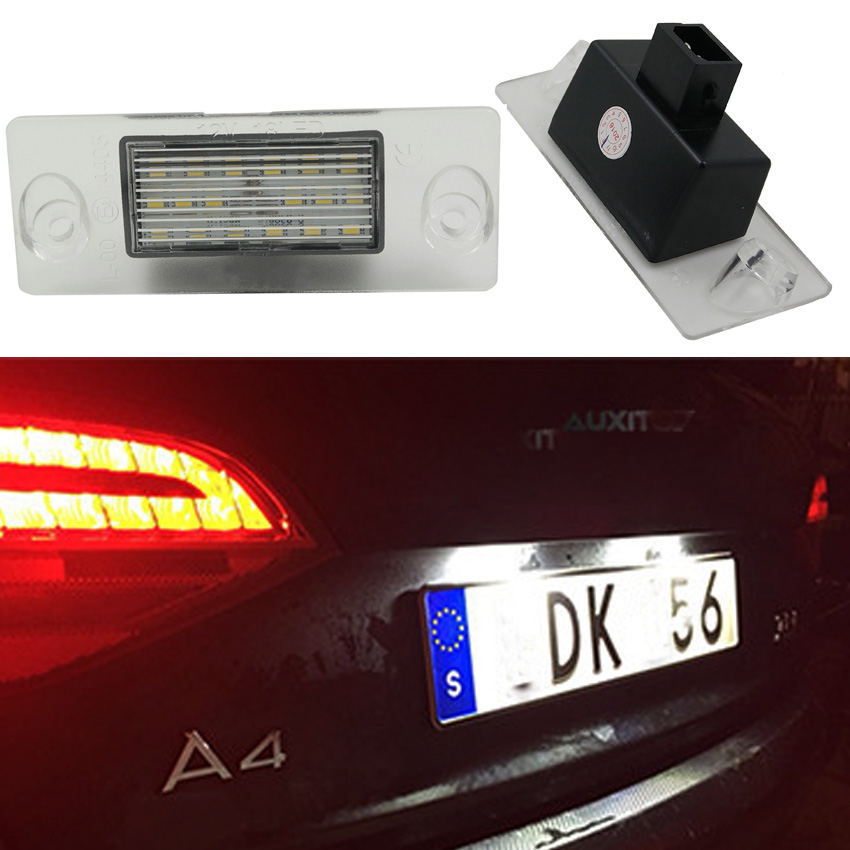 1Pair Replacement Error Free 6000K White Led License Plate Light For Audi A4 S4 B5 1998 1999 2000 2001 Number Plate Lamp Part резистор kiwame 2w 18 0 kohm