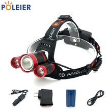 8000 Lumens LED Headlight 3*T6 red Headlamp Frontal Light Torch Cree chip T6 Waterproof Flashlights Rechargeable 18650 Battery