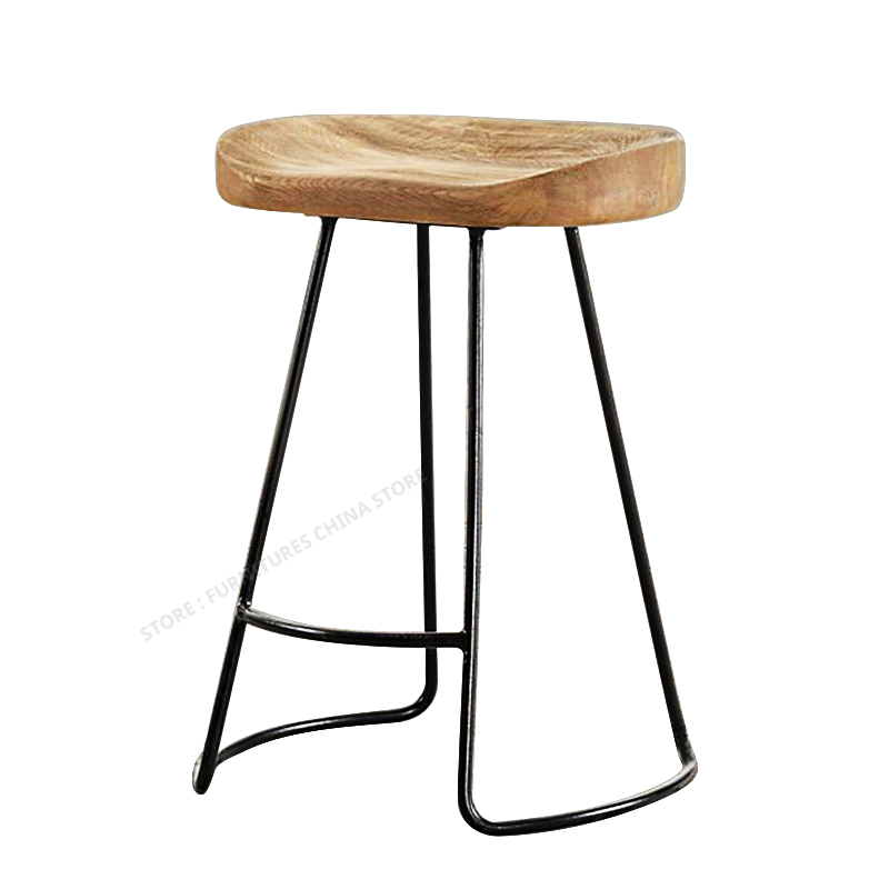 Modern Bar Stool Iron Bar Chair Bar Stool Seat Make Up Chair Beauty Salon Furniture European Style Solid Wood Fashion Creativity