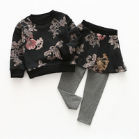 Brand New Mùa Thu và Mùa Xuân Styls Cô Gái Quần Áo Đặt In Dài Tay Áo Vòng Cổ Top + Ăn Mặc Quần Phù Hợp Với Trẻ Em quần áo