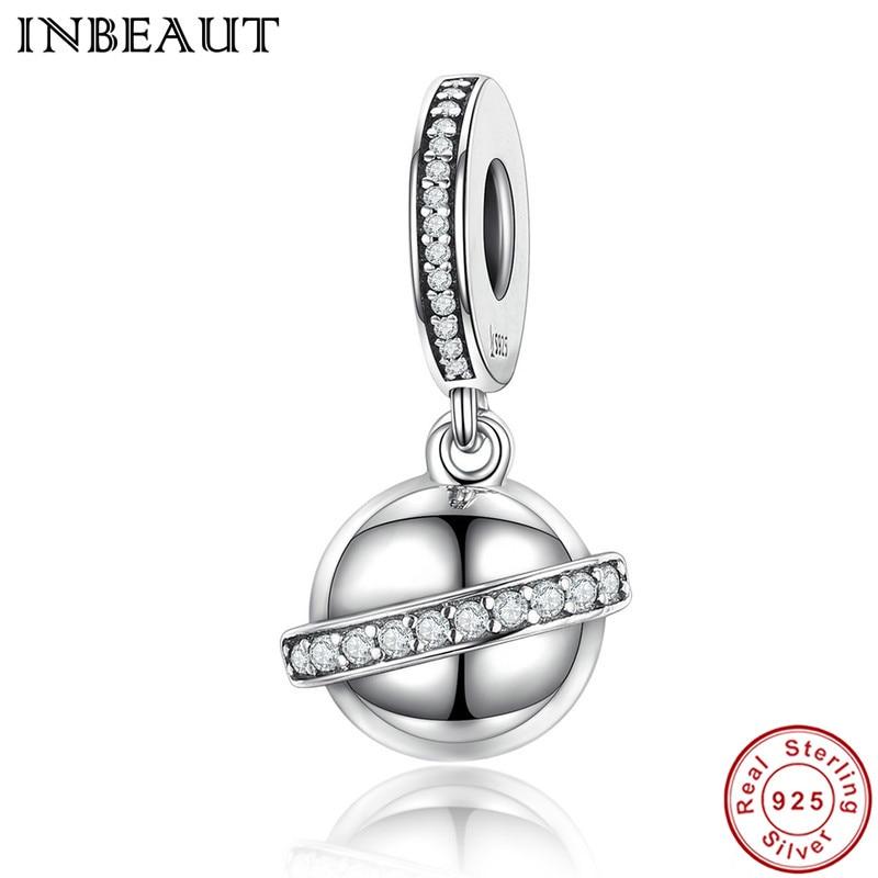 INBEAUT Authentic 100% 925 Sterling Silver Clear Cubic Zirconia SKY Planet Pendant Beads  Fit Original Bracelet Jewelry