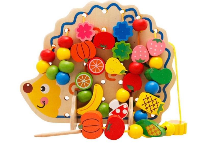 Jaunas koka bērnu rotaļlietas ezis Augļu stīgu pērles Early Educational Rotaļlietas Baby Dāvanas
